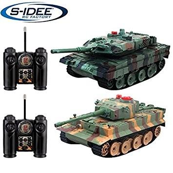 s-idee® 99823 2 x Battle Panzer 1:28 mit integriertem Infrarot Kampfsystem 2.4 Ghz RC R/C